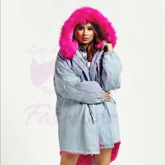 b8c395bd4 Jackets & Coats | Denim Hooded Jacket With Fur Hot Pink | Poshmark